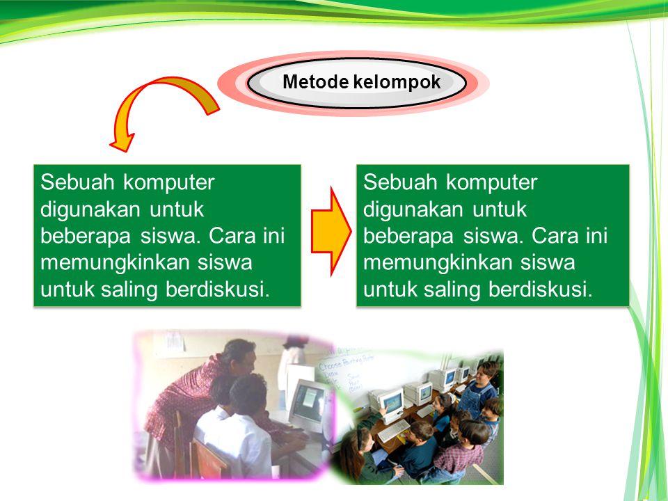Sebuah komputer digunakan untuk beberapa siswa.