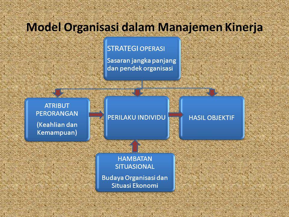 Model Organisasi dalam Manajemen Kinerja STRATEGI OPERASI Sasaran jangka panjang dan pendek organisasi ATRIBUT PERORANGAN (Keahlian dan Kemampuan) HASIL OBJEKTIFPERILAKU INDIVIDU HAMBATAN SITUASIONAL Budaya Organisasi dan Situasi Ekonomi