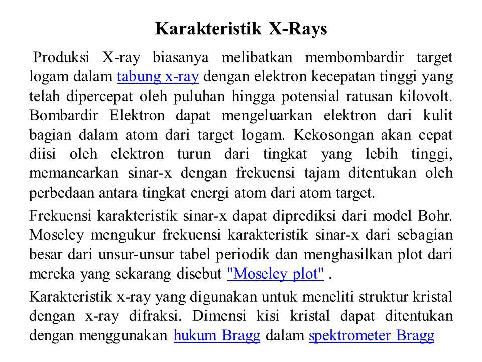 Karakteristik X-Rays Produksi X-ray biasanya melibatkan membombardir target logam dalam tabung x-ray dengan elektron kecepatan tinggi yang telah diper