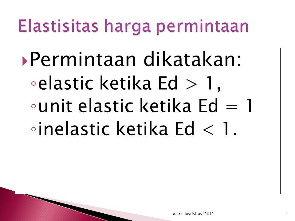  Permintaan dikatakan: ◦ elastic ketika Ed > 1, ◦ unit elastic ketika Ed = 1 ◦ inelastic ketika Ed < 1.