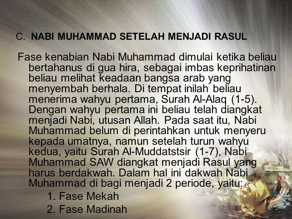 B. NABI MUHAMMAD SEBELUM DIANGKAT MENJADI RASUL Nabi Muhammad lahir dari keluarga terhormat yang relative miskin. Ayahnya bernama Abdullah. Ibunya ada