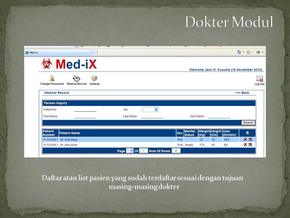 Daftar atau list pasien yang sudah terdaftar sesuai dengan tujuan masing-masing dokter