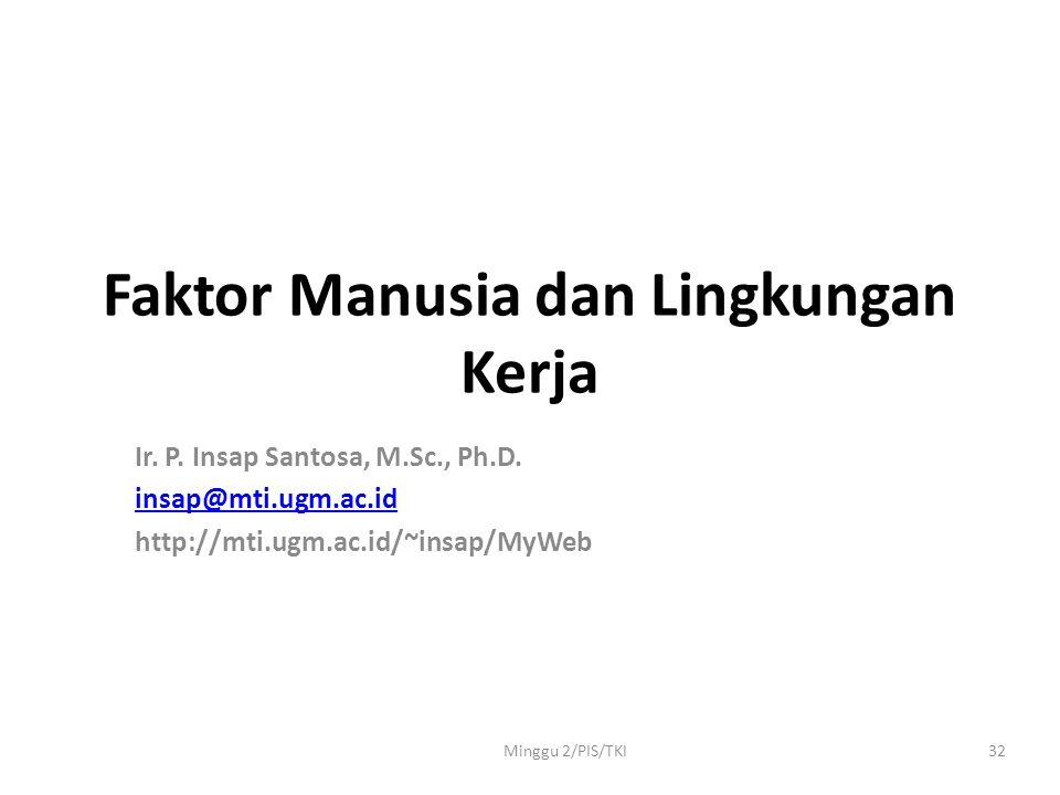 Minggu 2/PIS/TKI32 Faktor Manusia dan Lingkungan Kerja Ir.