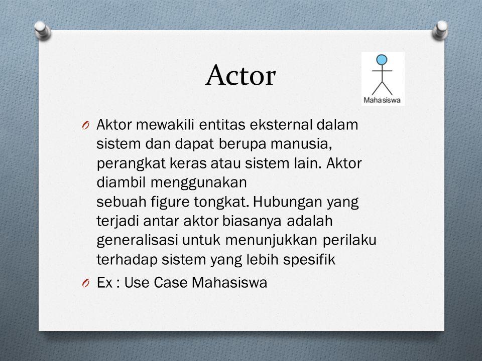 Actor O Aktor mewakili entitas eksternal dalam sistem dan dapat berupa manusia, perangkat keras atau sistem lain.