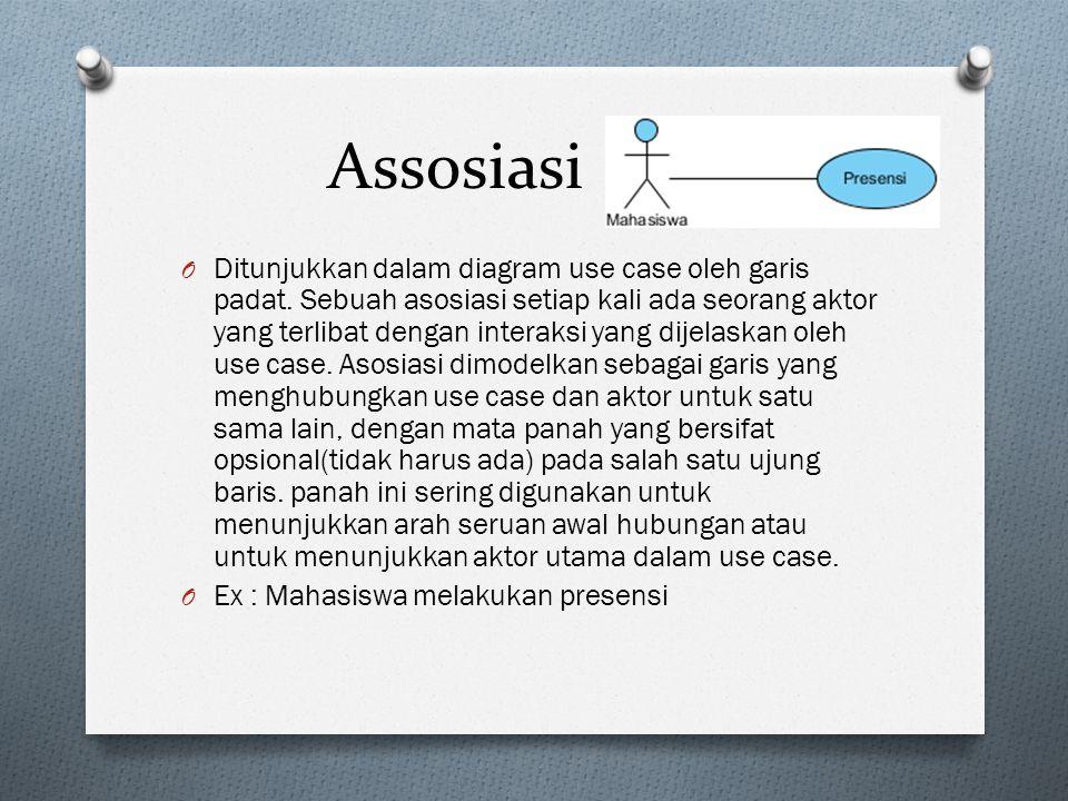 Assosiasi O Ditunjukkan dalam diagram use case oleh garis padat.