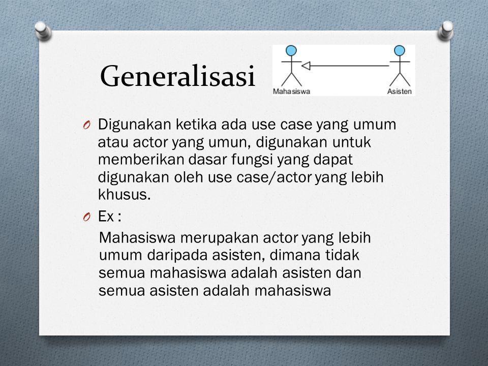 Generalisasi O Digunakan ketika ada use case yang umum atau actor yang umun, digunakan untuk memberikan dasar fungsi yang dapat digunakan oleh use case/actor yang lebih khusus.