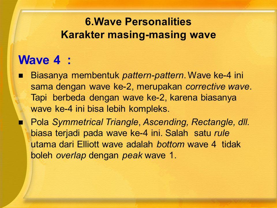 Wave 4 :  Biasanya membentuk pattern-pattern. Wave ke-4 ini sama dengan wave ke-2, merupakan corrective wave. Tapi berbeda dengan wave ke-2, karena b
