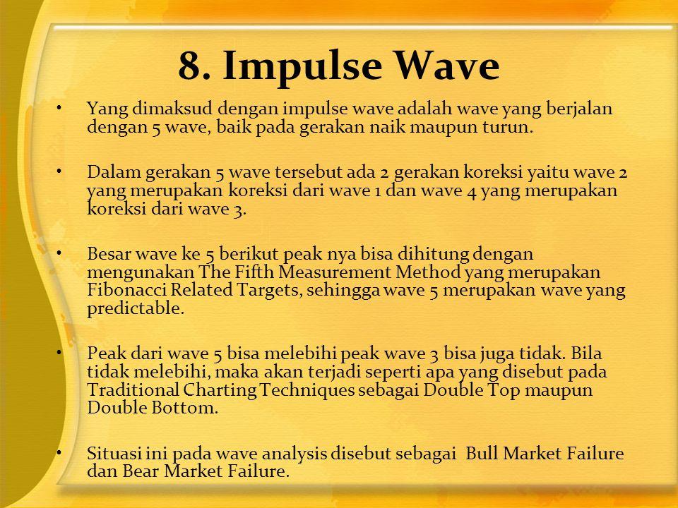 8. Impulse Wave •Yang dimaksud dengan impulse wave adalah wave yang berjalan dengan 5 wave, baik pada gerakan naik maupun turun. •Dalam gerakan 5 wave