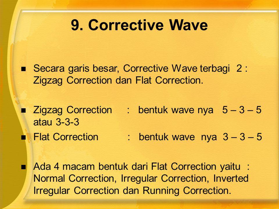  Secara garis besar, Corrective Wave terbagi 2 : Zigzag Correction dan Flat Correction.  Zigzag Correction : bentuk wave nya 5 – 3 – 5 atau 3-3-3 