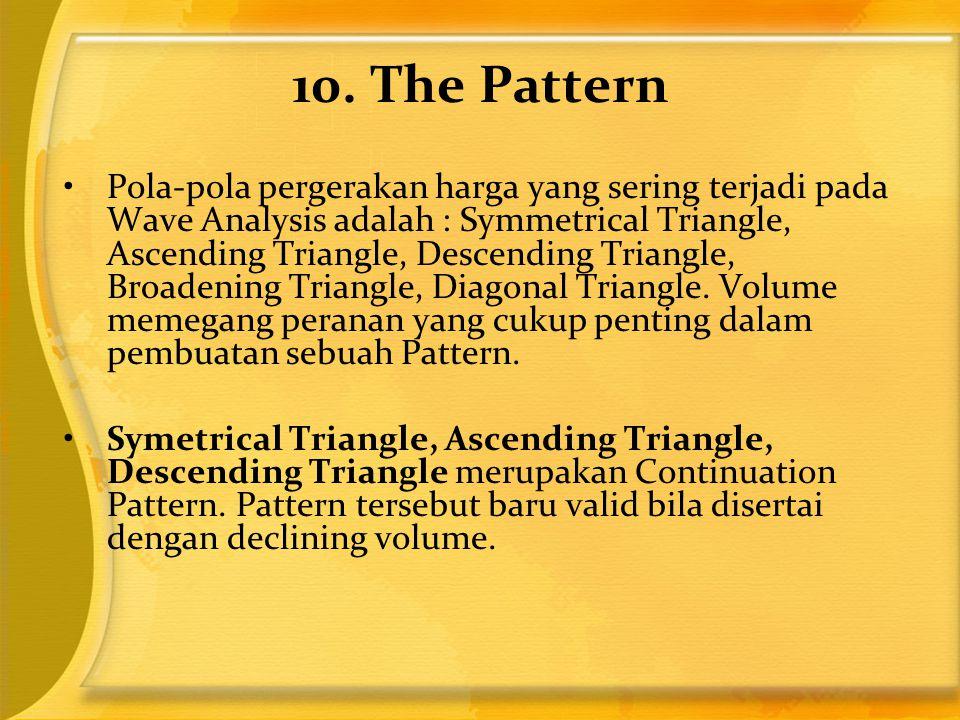 10. The Pattern •Pola-pola pergerakan harga yang sering terjadi pada Wave Analysis adalah : Symmetrical Triangle, Ascending Triangle, Descending Trian