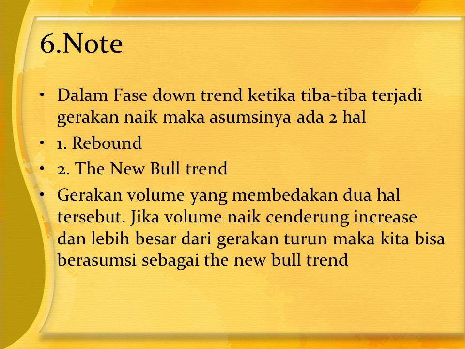 6.Note •Dalam Fase down trend ketika tiba-tiba terjadi gerakan naik maka asumsinya ada 2 hal •1. Rebound •2. The New Bull trend •Gerakan volume yang m
