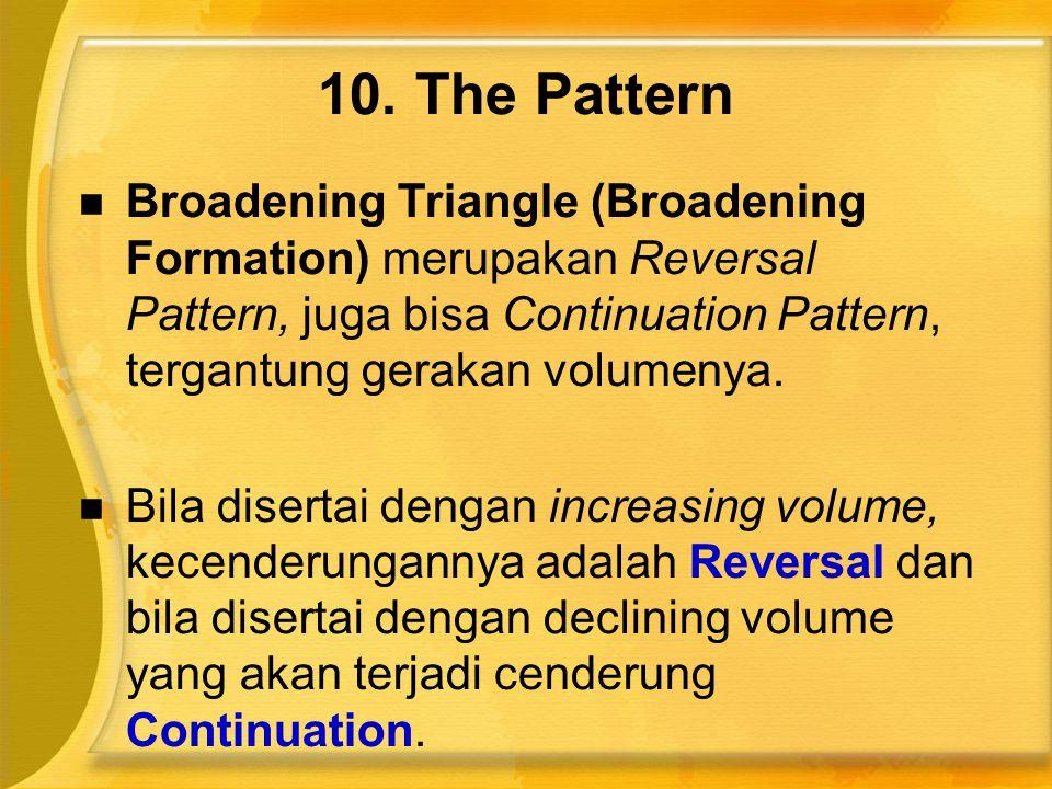  Broadening Triangle (Broadening Formation) merupakan Reversal Pattern, juga bisa Continuation Pattern, tergantung gerakan volumenya.  Bila disertai