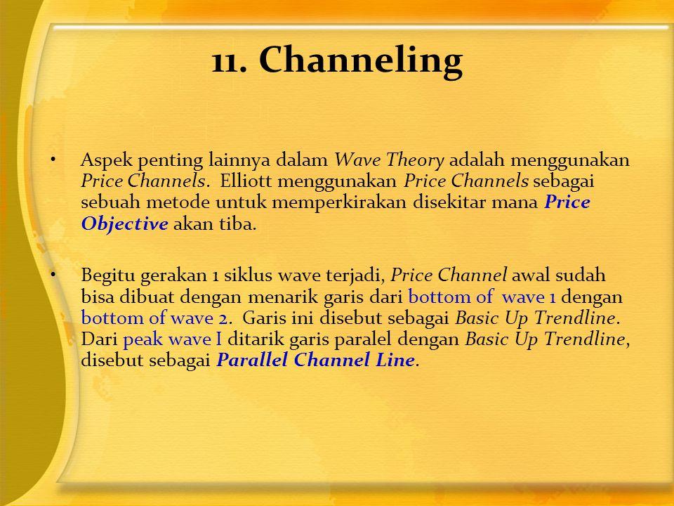 11. Channeling •Aspek penting lainnya dalam Wave Theory adalah menggunakan Price Channels. Elliott menggunakan Price Channels sebagai sebuah metode un