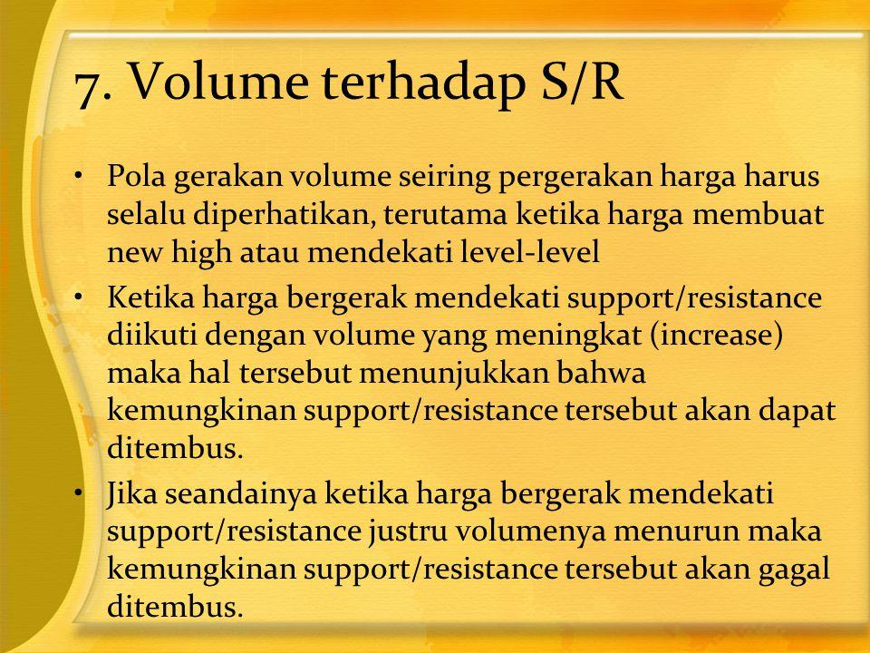 7. Volume terhadap S/R •Pola gerakan volume seiring pergerakan harga harus selalu diperhatikan, terutama ketika harga membuat new high atau mendekati