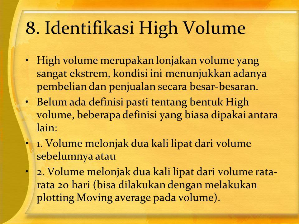 8. Identifikasi High Volume •High volume merupakan lonjakan volume yang sangat ekstrem, kondisi ini menunjukkan adanya pembelian dan penjualan secara