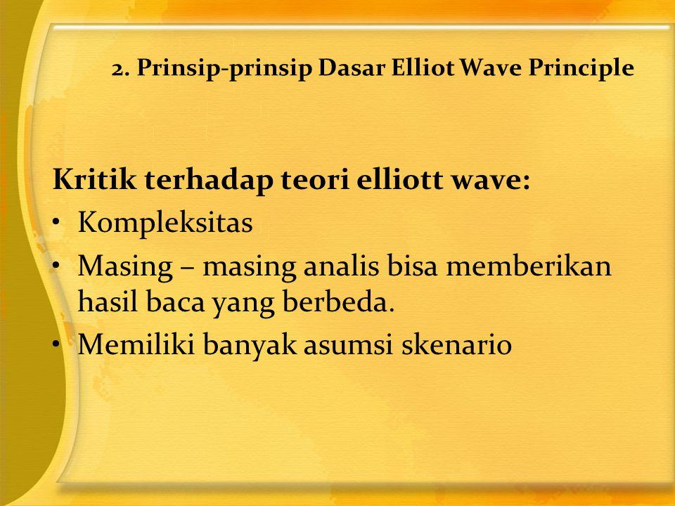 Kritik terhadap teori elliott wave: •Kompleksitas •Masing – masing analis bisa memberikan hasil baca yang berbeda. •Memiliki banyak asumsi skenario 2.