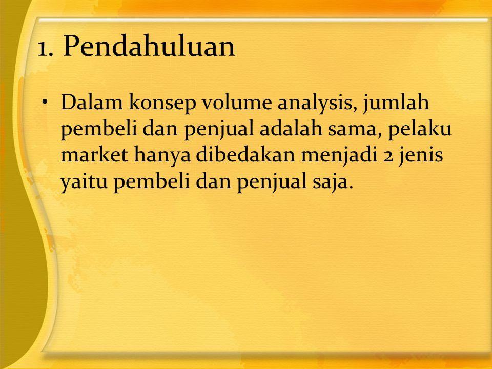 1. Pendahuluan •Dalam konsep volume analysis, jumlah pembeli dan penjual adalah sama, pelaku market hanya dibedakan menjadi 2 jenis yaitu pembeli dan