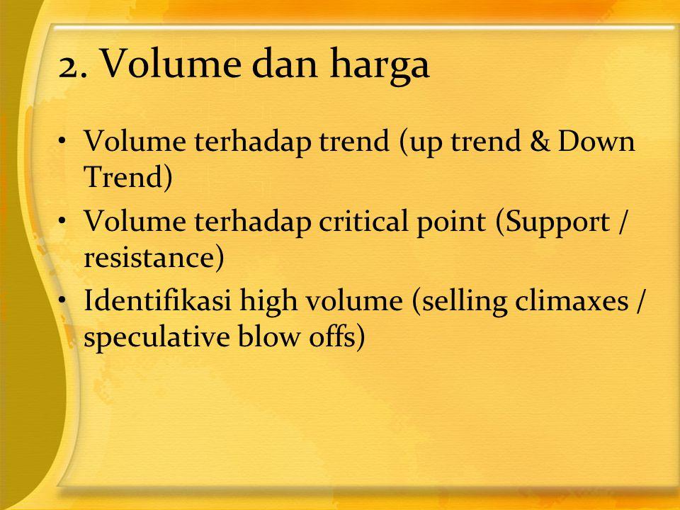 2. Volume dan harga •Volume terhadap trend (up trend & Down Trend) •Volume terhadap critical point (Support / resistance) •Identifikasi high volume (s