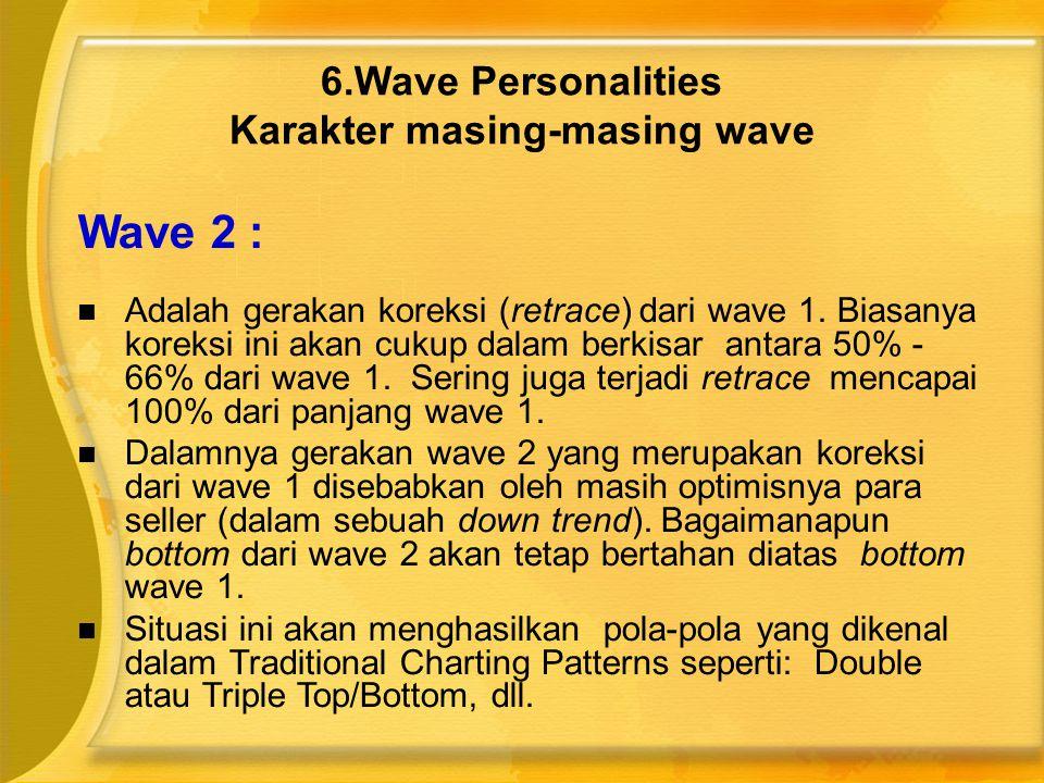 Wave 2 :  Adalah gerakan koreksi (retrace) dari wave 1. Biasanya koreksi ini akan cukup dalam berkisar antara 50% - 66% dari wave 1. Sering juga terj