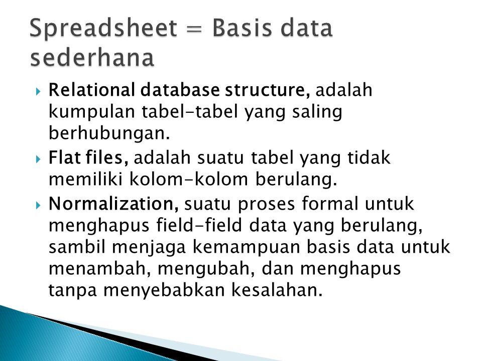 Relational database structure, adalah kumpulan tabel-tabel yang saling berhubungan.  Flat files, adalah suatu tabel yang tidak memiliki kolom-kolom