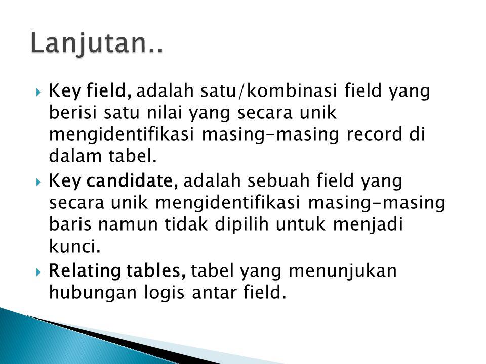 Key field, adalah satu/kombinasi field yang berisi satu nilai yang secara unik mengidentifikasi masing-masing record di dalam tabel.  Key candidate