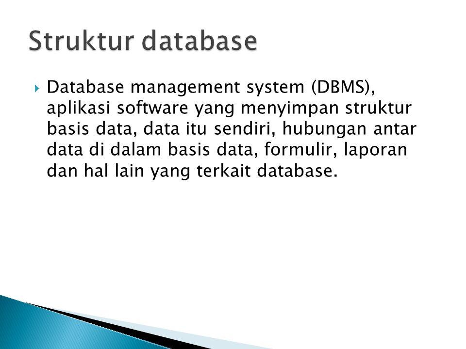  Database management system (DBMS), aplikasi software yang menyimpan struktur basis data, data itu sendiri, hubungan antar data di dalam basis data,