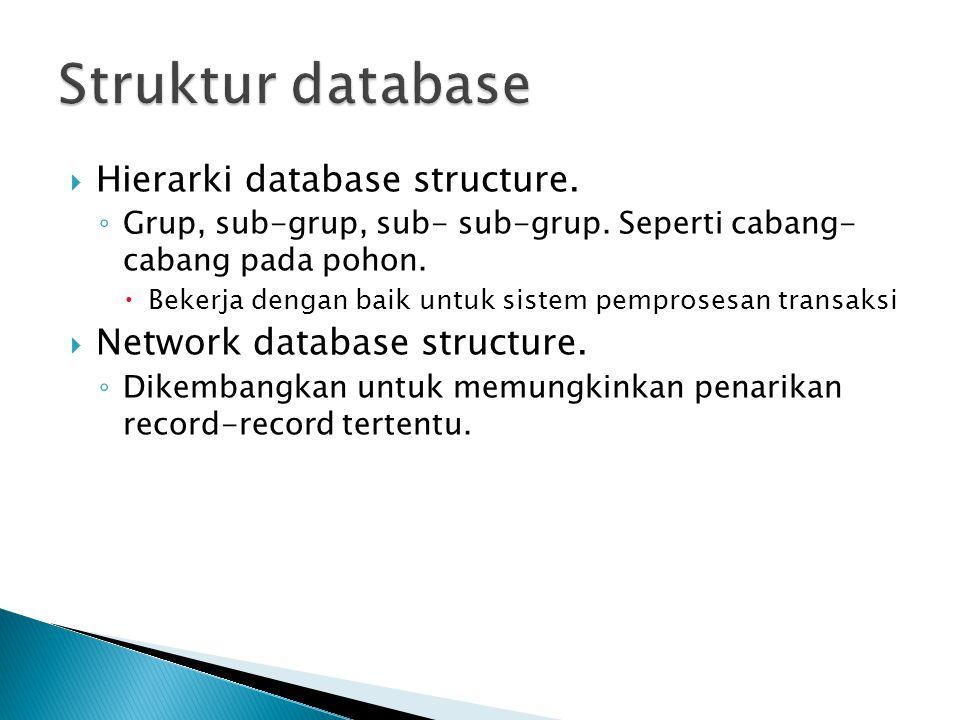  Hierarki database structure. ◦ Grup, sub-grup, sub- sub-grup. Seperti cabang- cabang pada pohon.  Bekerja dengan baik untuk sistem pemprosesan tran