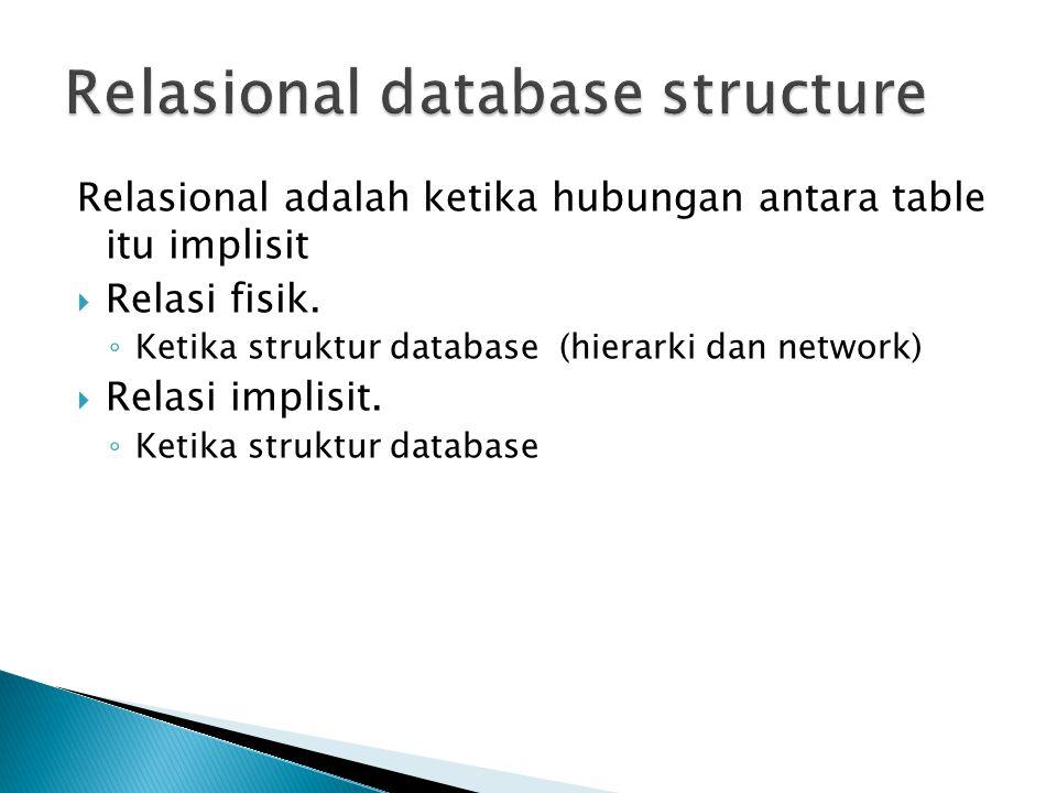 Relasional adalah ketika hubungan antara table itu implisit  Relasi fisik. ◦ Ketika struktur database (hierarki dan network)  Relasi implisit. ◦ Ket