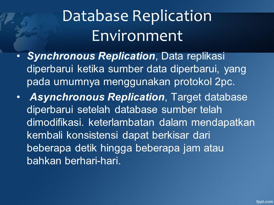•Synchronous Replication, Data replikasi diperbarui ketika sumber data diperbarui, yang pada umumnya menggunakan protokol 2pc.