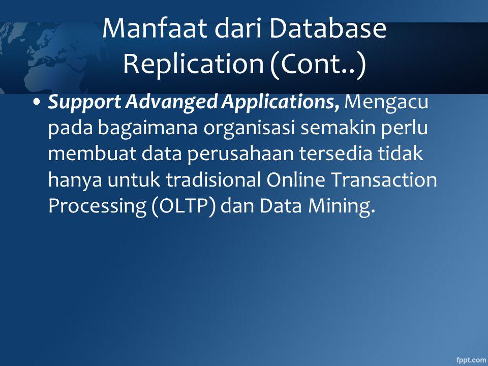 Manfaat dari Database Replication (Cont..) •Support Advanged Applications, Mengacu pada bagaimana organisasi semakin perlu membuat data perusahaan tersedia tidak hanya untuk tradisional Online Transaction Processing (OLTP) dan Data Mining.