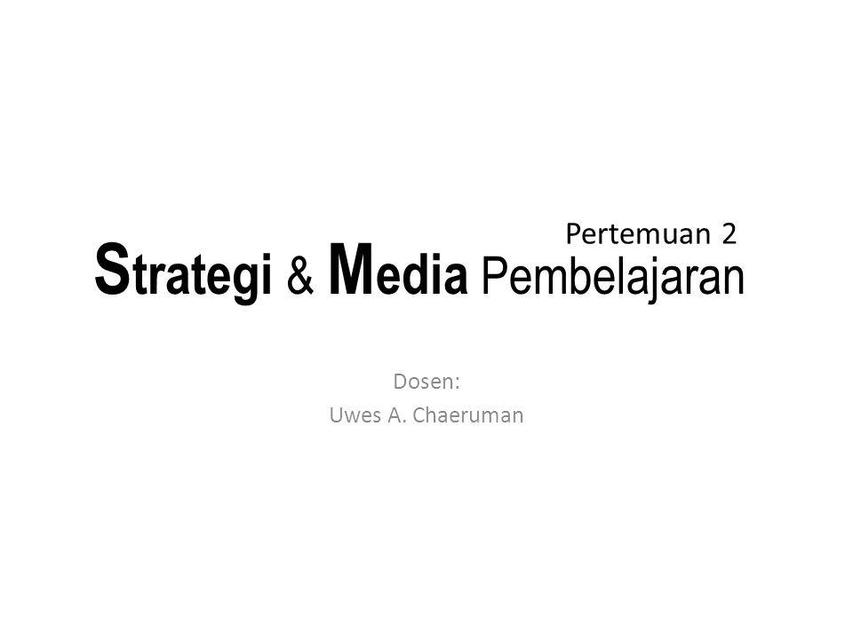 Tugas Terstruktur 1: menentukan strategi pembelajaran Kerjakan secara kelompok Pilih salah satu topik pembelajaran Rumuskan dua tujuan pembelajaran khusus Tentukan strategi dan media pembelajaran yang relevan untuk mencapai tujuan tersebut.