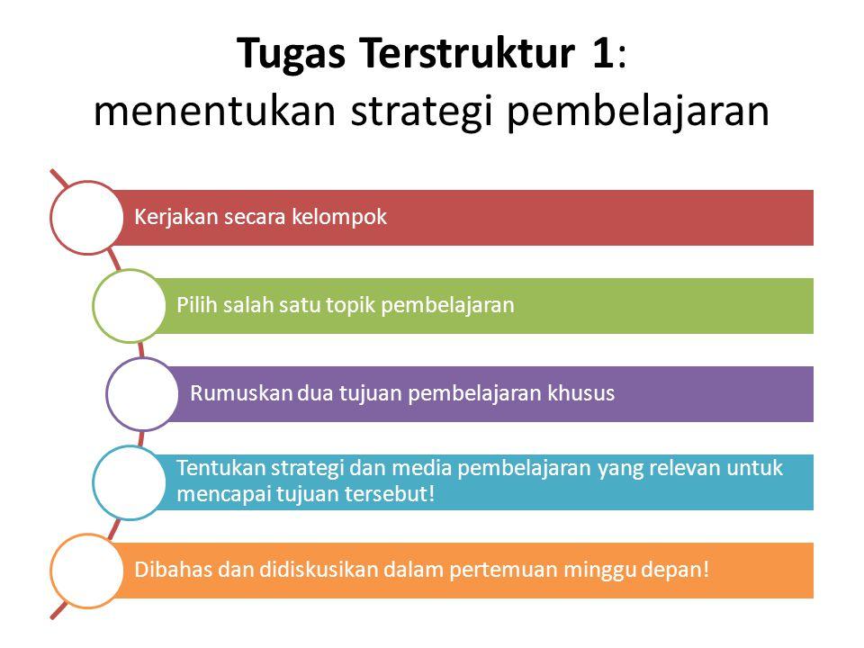 Tugas Terstruktur 1: menentukan strategi pembelajaran Kerjakan secara kelompok Pilih salah satu topik pembelajaran Rumuskan dua tujuan pembelajaran kh