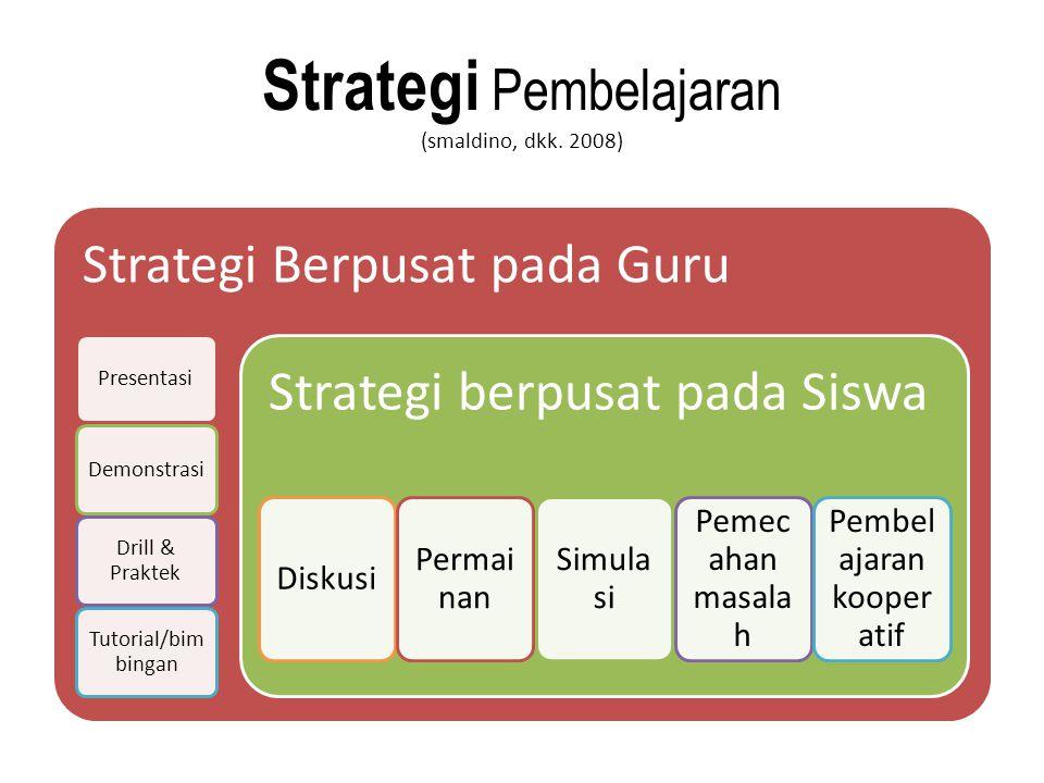 Strategi Pembelajaran (smaldino, dkk. 2008) Strategi Berpusat pada Guru PresentasiDemonstrasi Drill & Praktek Tutorial/bim bingan Strategi berpusat pa