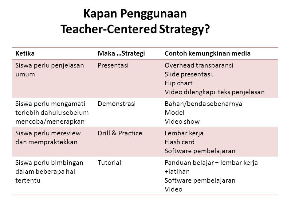 Kapan Penggunaan Teacher-Centered Strategy? KetikaMaka …StrategiContoh kemungkinan media Siswa perlu penjelasan umum PresentasiOverhead transparansi S