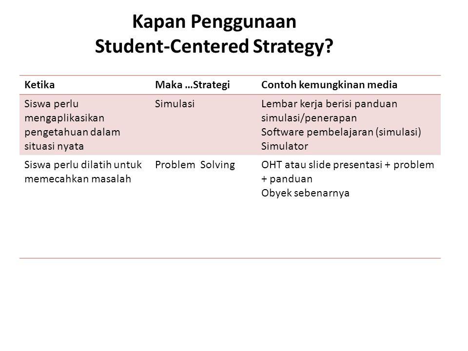 Kapan Penggunaan Student-Centered Strategy? KetikaMaka …StrategiContoh kemungkinan media Siswa perlu mengaplikasikan pengetahuan dalam situasi nyata S