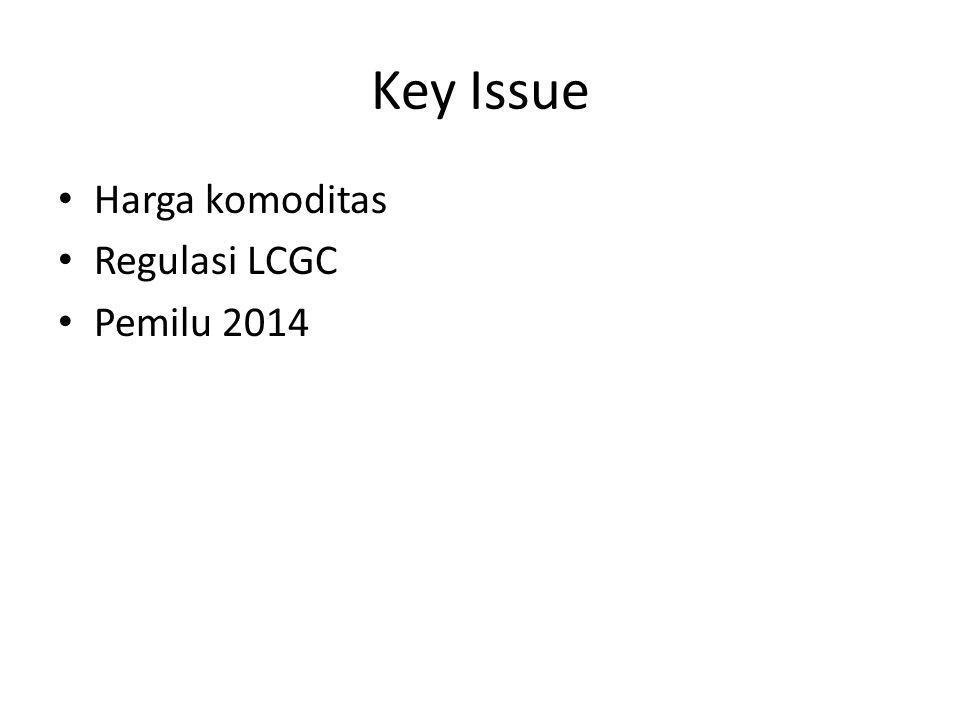 Key Issue • Harga komoditas • Regulasi LCGC • Pemilu 2014