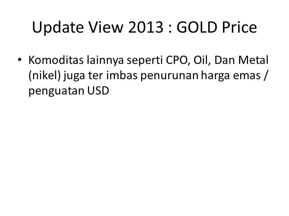 Dampak Penurunan Gold / Komoditas • Anjloknya laba dan juga saham perusahaan komoditas • Saham komoditas menjadi murah namun tidak menutup kemungkinan untuk semakin murah