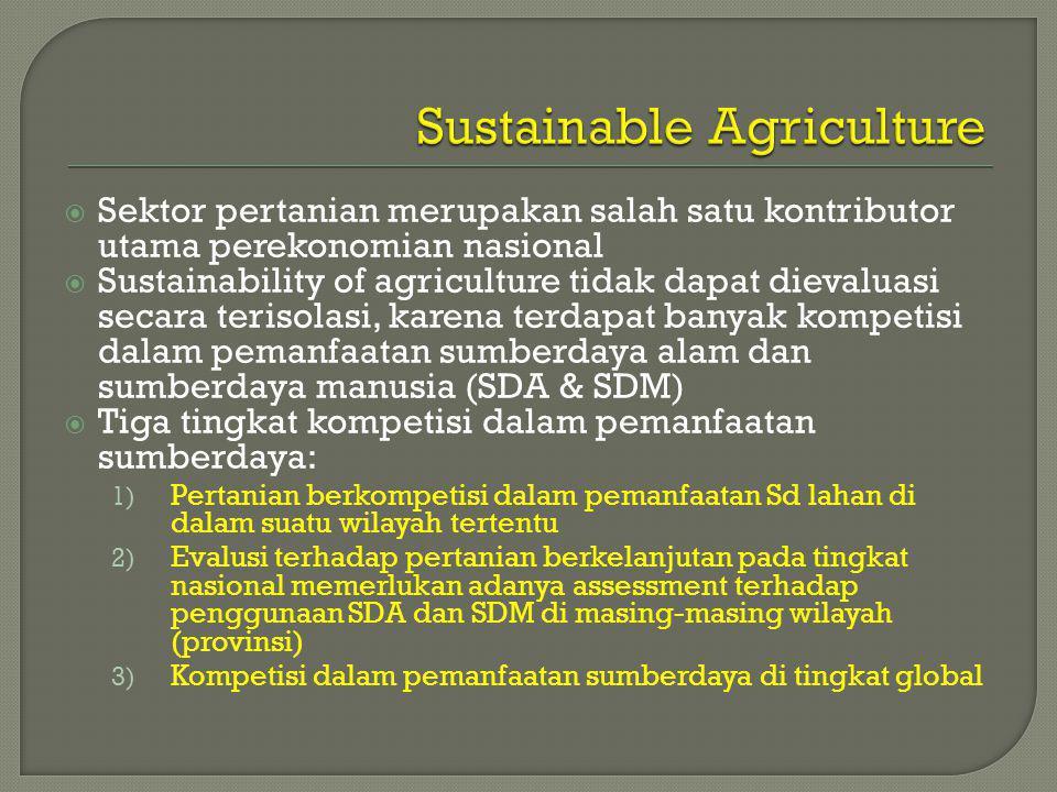  Sektor pertanian merupakan salah satu kontributor utama perekonomian nasional  Sustainability of agriculture tidak dapat dievaluasi secara terisolasi, karena terdapat banyak kompetisi dalam pemanfaatan sumberdaya alam dan sumberdaya manusia (SDA & SDM)  Tiga tingkat kompetisi dalam pemanfaatan sumberdaya: 1) Pertanian berkompetisi dalam pemanfaatan Sd lahan di dalam suatu wilayah tertentu 2) Evalusi terhadap pertanian berkelanjutan pada tingkat nasional memerlukan adanya assessment terhadap penggunaan SDA dan SDM di masing-masing wilayah (provinsi) 3) Kompetisi dalam pemanfaatan sumberdaya di tingkat global