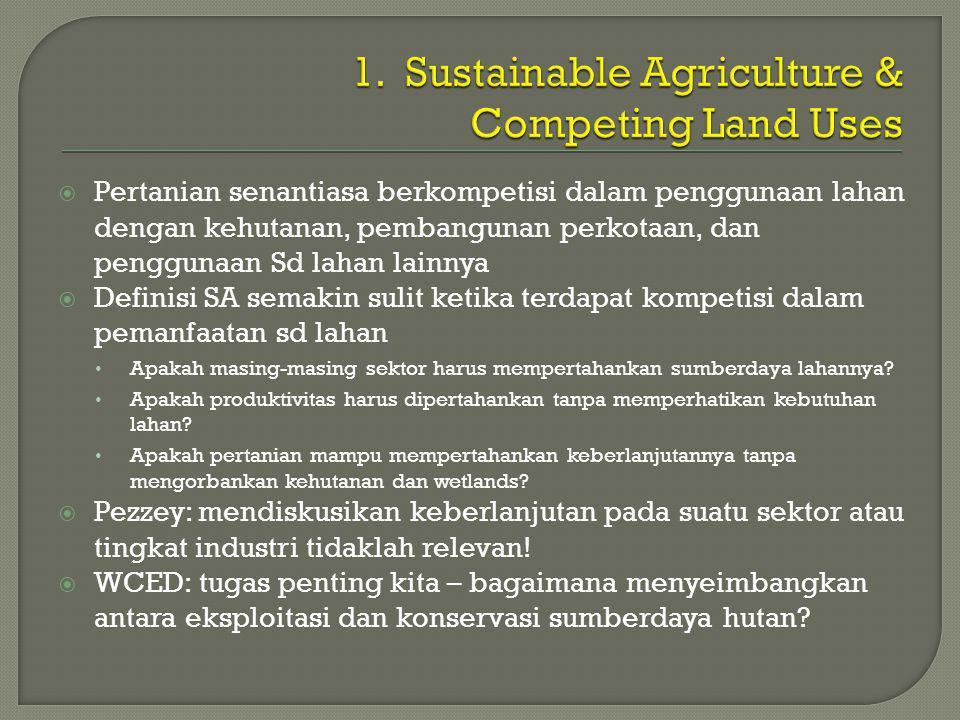  Pertanian senantiasa berkompetisi dalam penggunaan lahan dengan kehutanan, pembangunan perkotaan, dan penggunaan Sd lahan lainnya  Definisi SA semakin sulit ketika terdapat kompetisi dalam pemanfaatan sd lahan • Apakah masing-masing sektor harus mempertahankan sumberdaya lahannya.