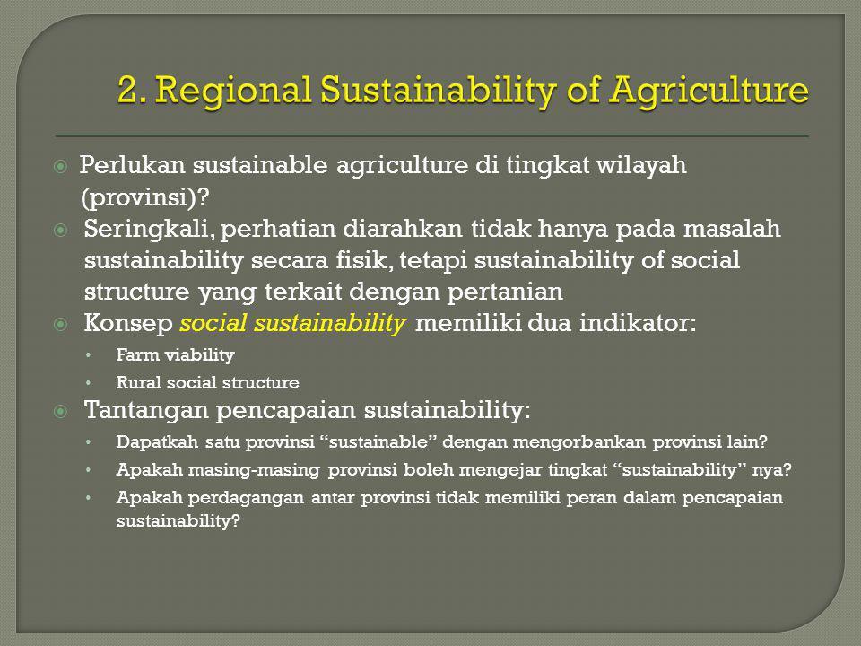  Perlukan sustainable agriculture di tingkat wilayah (provinsi).