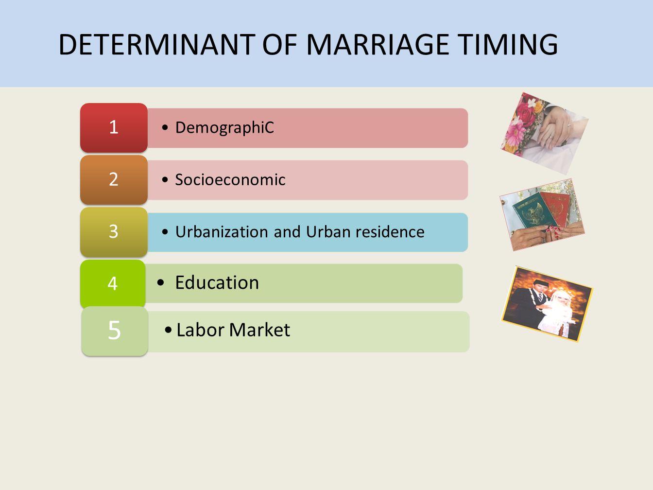 •DemographiC 1 •Socioeconomic 2 •Urbanization and Urban residence 3 • Education 4 DETERMINANT OF MARRIAGE TIMING •Labor Market 5