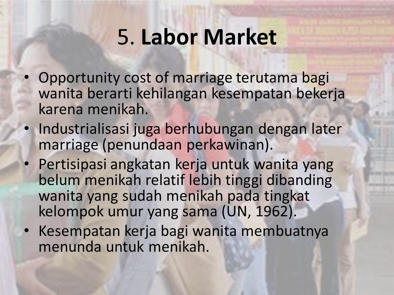 • Opportunity cost of marriage terutama bagi wanita berarti kehilangan kesempatan bekerja karena menikah. • Industrialisasi juga berhubungan dengan la