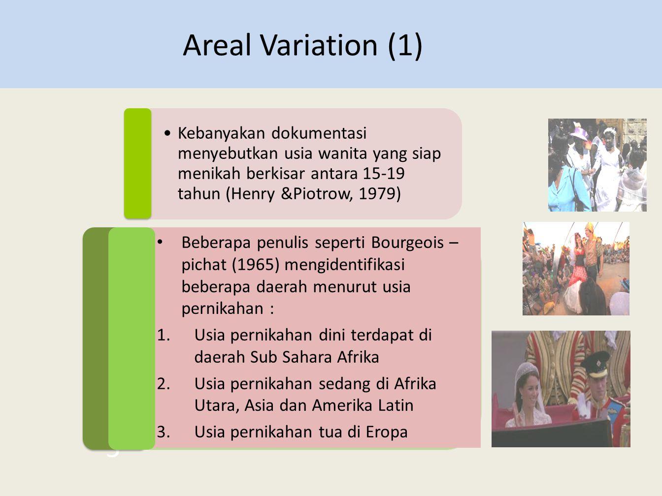 •Kebanyakan dokumentasi menyebutkan usia wanita yang siap menikah berkisar antara 15-19 tahun (Henry &Piotrow, 1979) Areal Variation (1) 5 5 • Beberap