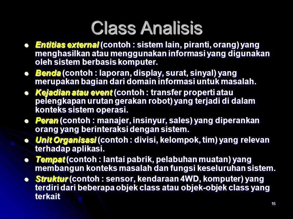 15 Pemodelan berbasis Class  Tentukan analisis class dengan memeriksa pernyataan masalah(problem statement)  Gunakan parsing gramatikal untuk memila