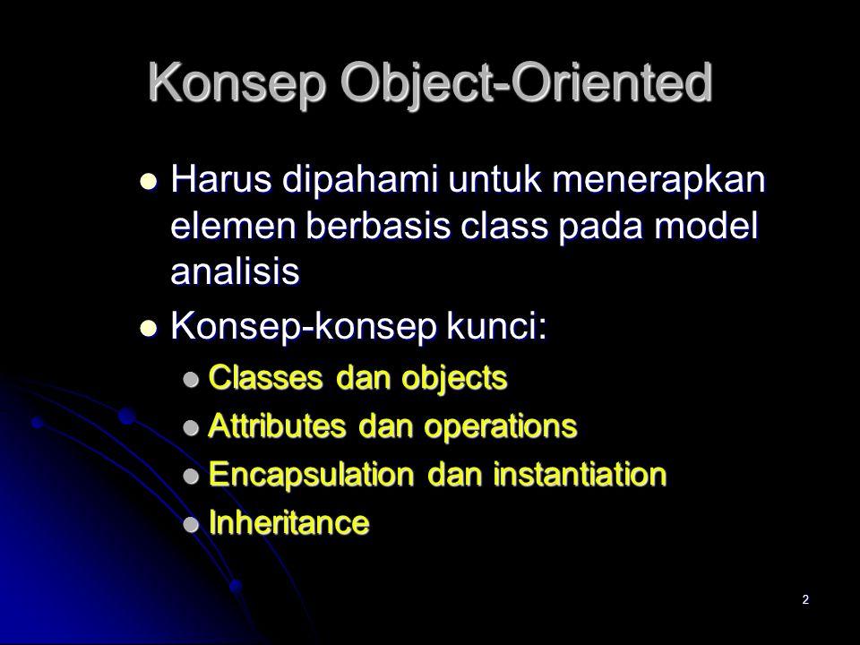 2 Konsep Object-Oriented  Harus dipahami untuk menerapkan elemen berbasis class pada model analisis  Konsep-konsep kunci:  Classes dan objects  Attributes dan operations  Encapsulation dan instantiation  Inheritance