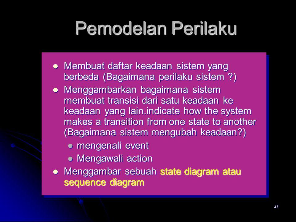 36 Keadaan-Keadaan Sistem  state—sekumpulan keadaan terobservasi yang menggambarkan perilaku sistem pada satu waktu  state transition—perubahan dari