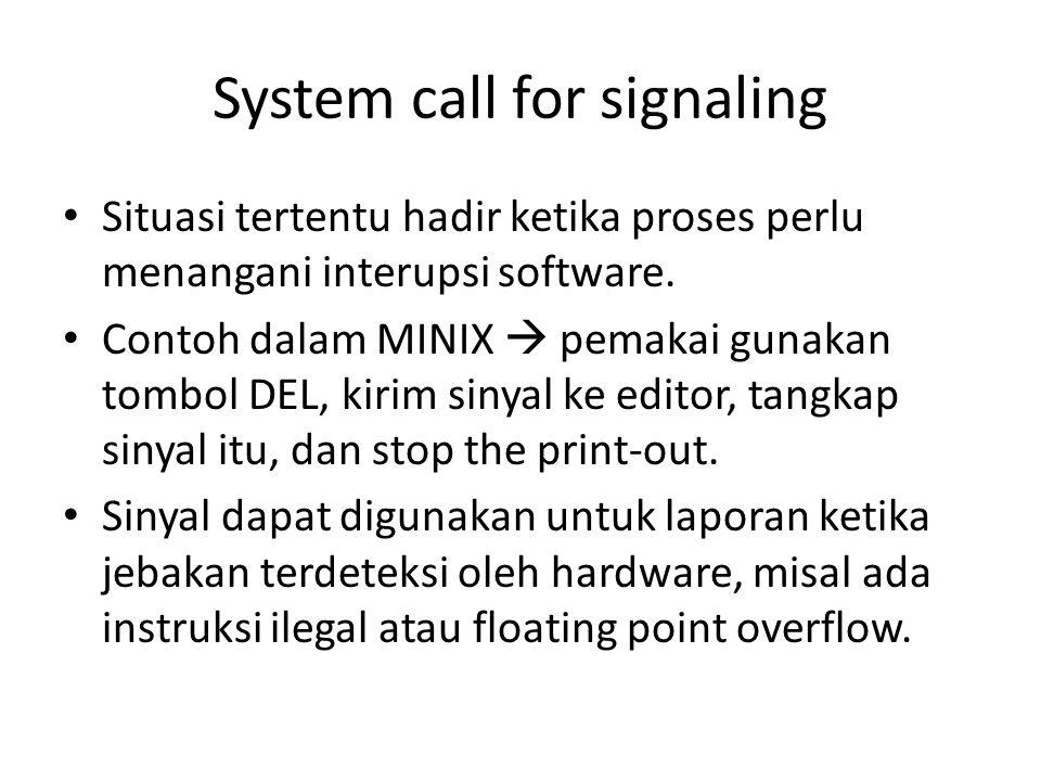System call for signaling • Situasi tertentu hadir ketika proses perlu menangani interupsi software.