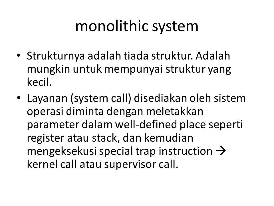 monolithic system • Strukturnya adalah tiada struktur.