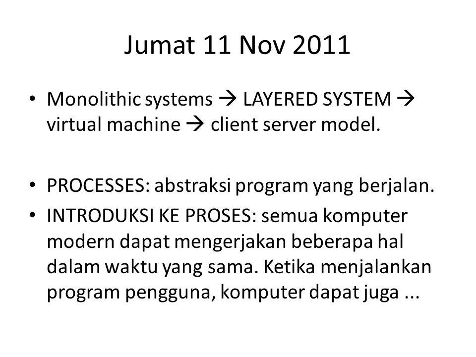 Jumat 11 Nov 2011 • Monolithic systems  LAYERED SYSTEM  virtual machine  client server model.