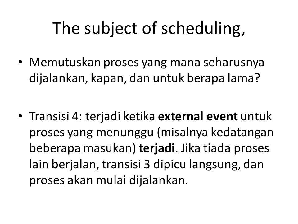 The subject of scheduling, • Memutuskan proses yang mana seharusnya dijalankan, kapan, dan untuk berapa lama.